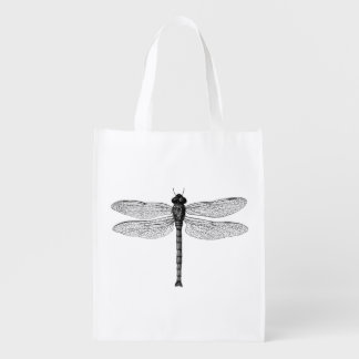 Vintage Black and White Dragonfly Illustration Grocery Bag