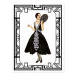 Vintage Black and White Flapper Evening Dress Postcard