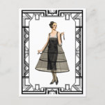 Vintage Black and White Flapper Evening Gown Postcard
