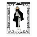 Vintage Black and White Flapper Fashion Art Postcard