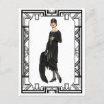 Vintage Black and White Flapper Illustration Postcard