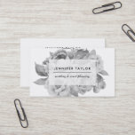 """Vintage Black and White Floral Business Card<br><div class=""""desc"""">Elegant vintage style floral business cards feature a posy of black and white watercolor peonies with your name or company name and title displayed on a sheer white overlay. Add your full contact information to the reverse side. Perfect for wedding planners,  event planners and other special occasion professionals.</div>"""