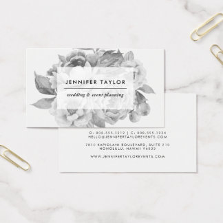 Vintage Black and White Floral Business Card
