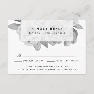 Vintage Black and White Floral Meal Choice RSVP