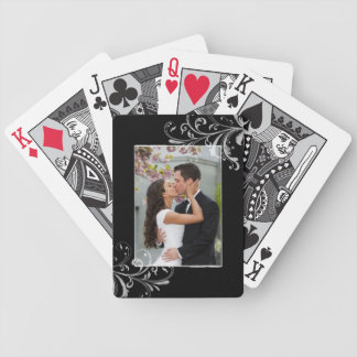 Vintage Black and White Floral Photo Wedding Bicycle Playing Cards