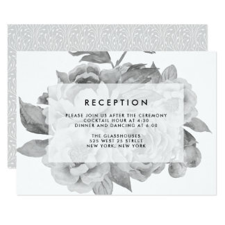 Vintage Black and White Floral Reception Card