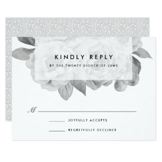 Vintage Black and White Floral RSVP Card