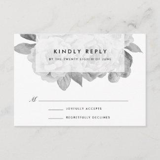 Vintage Black and White Floral RSVP Card