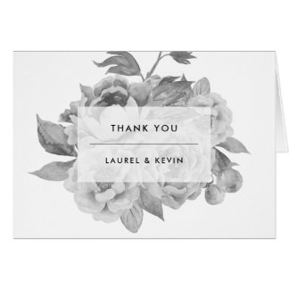 Vintage Black and White Floral Thank You Card