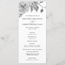 Vintage Black and White Floral Wedding Program