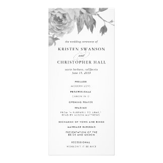 Vintage Black and White Floral Wedding Program