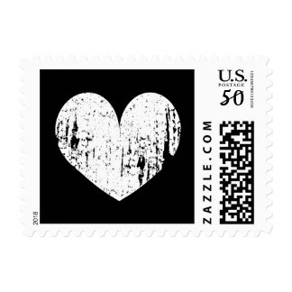 Vintage black and white heart icon wedding stamps