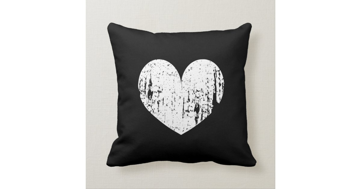White Heart Throw Pillow : Vintage black and white heart throw pillow cushion Zazzle