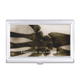 Vintage Black and White Human Hand X-Ray Business Card Holder