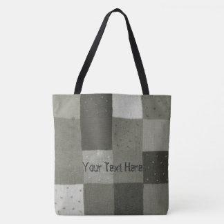 vintage black and white knittted patchwork design tote bag