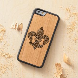 Vintage Black and White Lacy Fleur De Lis Carved® Cherry iPhone 6 Bumper Case