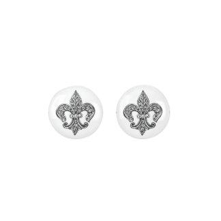 Vintage Black and White Lacy Fleur De Lis Earrings