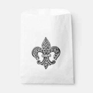 Vintage Black and White Lacy Fleur De Lis Favor Bag