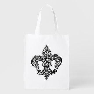 Vintage Black and White Lacy Fleur De Lis Reusable Grocery Bag