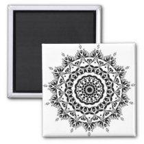 Vintage Black and White Mandala Magnet