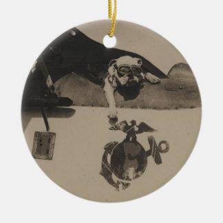 Vintage Black and White Military Bulldog Aviation Ceramic Ornament