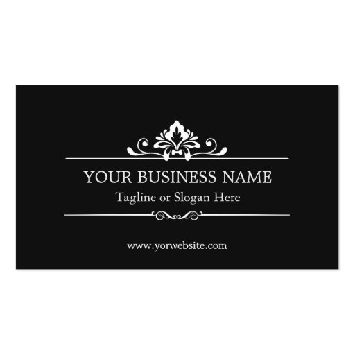 Vintage Black and White Minimal Concise Business Cards (back side)