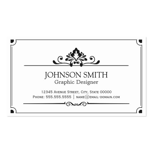 Vintage Black and White Minimal Concise Business Cards (front side)