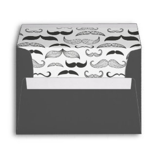 Vintage black and white mustache personalized envelope