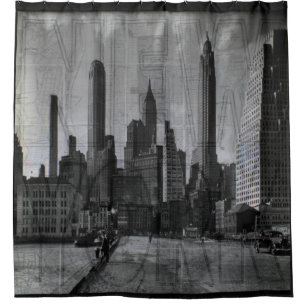 Vintage Black And White New York City Shower Curtain