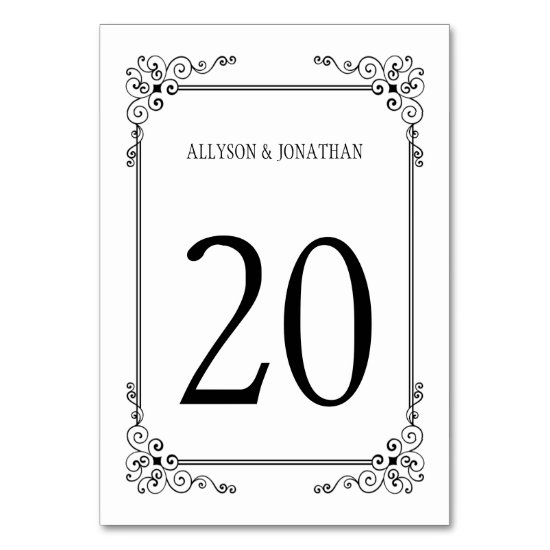 Vintage Black and White Ornate Swirls Table | Table Number
