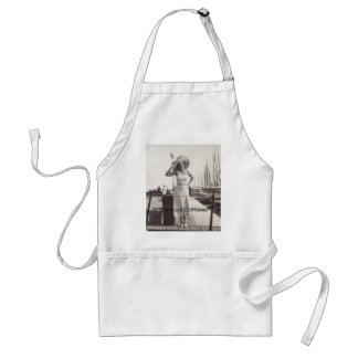 Vintage black and white photo Cannes, France 1930s Adult Apron