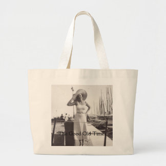 Vintage black and white photo Cannes, France 1930s Large Tote Bag