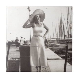 Vintage black and white photo Cannes, France 1930s Tile