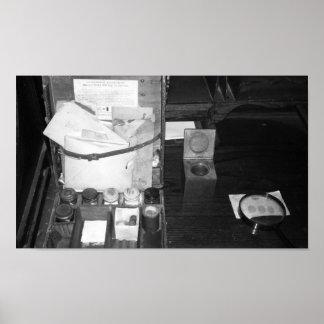 Vintage Black And White Photo Fingerprint Kit Poster