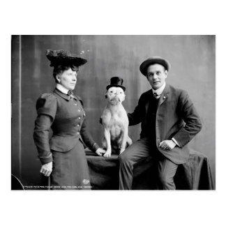 Vintage Black and White Photograph Dog Wearing Hat Postcard