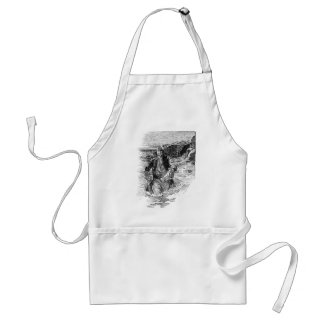 Vintage Black and White Pirates Sketch, Tailpiece Adult Apron