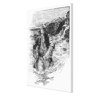 Vintage Black and White Pirates Sketch, Tailpiece Canvas Print