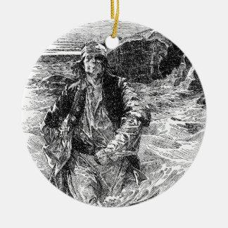 Vintage Black and White Pirates Sketch, Tailpiece Ceramic Ornament