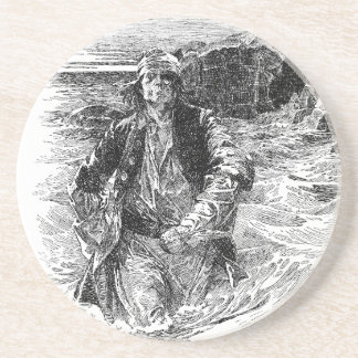 Vintage Black and White Pirates Sketch, Tailpiece Drink Coaster