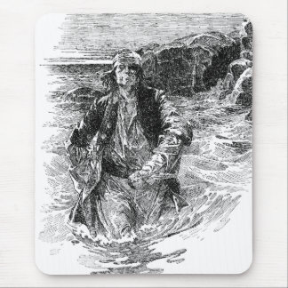 Vintage Black and White Pirates Sketch, Tailpiece Mouse Pad