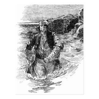 Vintage Black and White Pirates Sketch, Tailpiece Postcard