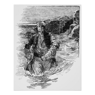Vintage Black and White Pirates Sketch, Tailpiece Poster