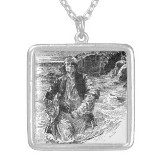 Vintage Black and White Pirates Sketch, Tailpiece Silver Plated Necklace