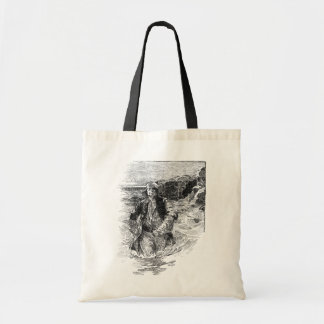 Vintage Black and White Pirates Sketch, Tailpiece Tote Bag