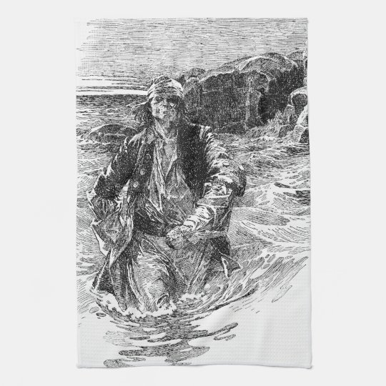 Vintage Black and White Pirates Sketch, Tailpiece Towel