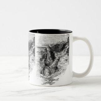 Vintage Black and White Pirates Sketch, Tailpiece Two-Tone Coffee Mug