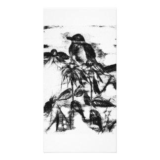 Vintage black and white robin card