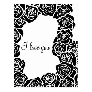 Vintage black and white rose 'I love you' Postcard