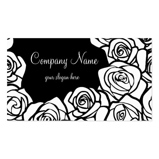 Vintage black and white roses Business Card