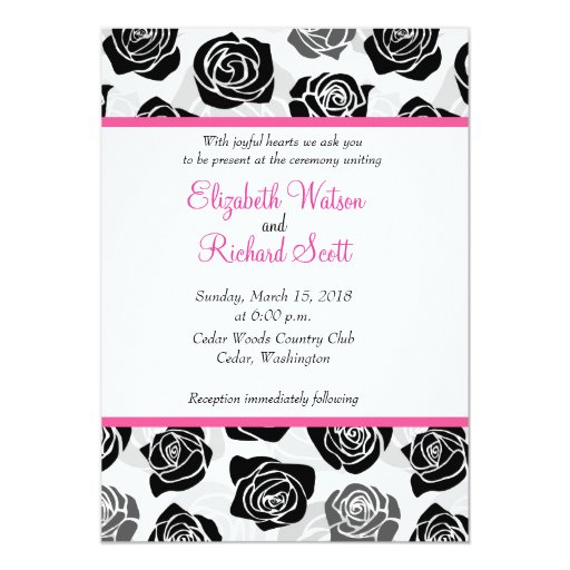 Vintage Black And White Roses Wedding Invitation